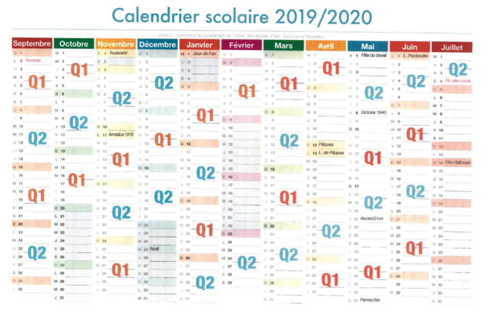 Vacances Scolaires Calendrier 2020.Calendrier Annee Scolaire 2019 2020 Lycee Jacques Prevert